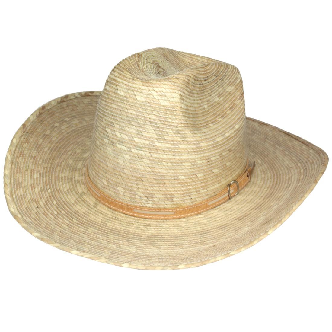 20693517d685e Sombrero cowboy de tirilla de palma natural genuino de México. Adorno  correa.