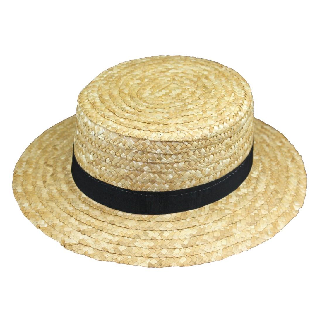 2301. Sombrero canotier de paja natural cosida  306462cafb6