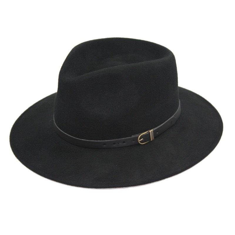 1703. Sombrero indiana fieltro lana 100%. Correa y badana. Negro ... 3456b0bc33c